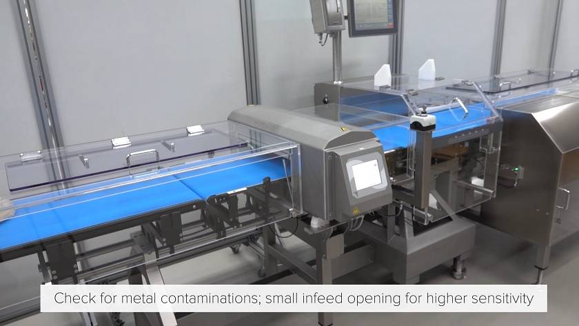 Checkweigher HC-A-MD with extremely sensitive metal detector for food industry