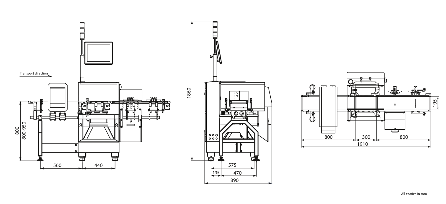 Checkweigher and metal detector HC-A-MDi: technical drawing