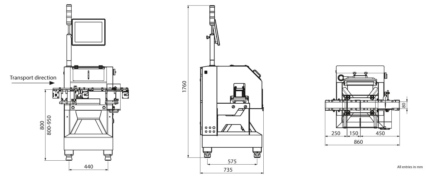 Checkweigher HC-A-MI: technical drawing