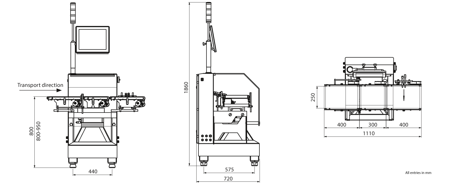 Checkweigher HC-A-VA: technical drawing