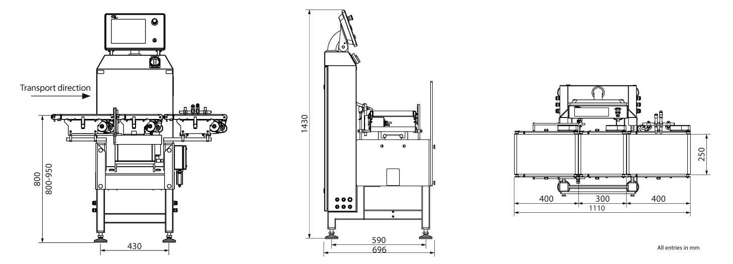 Checkweigher HC-M-VA: technical drawing